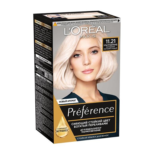 Краска для волос Preference L'Oréal, тон 11.21 («Ультраблонд холодный перламутровый»)