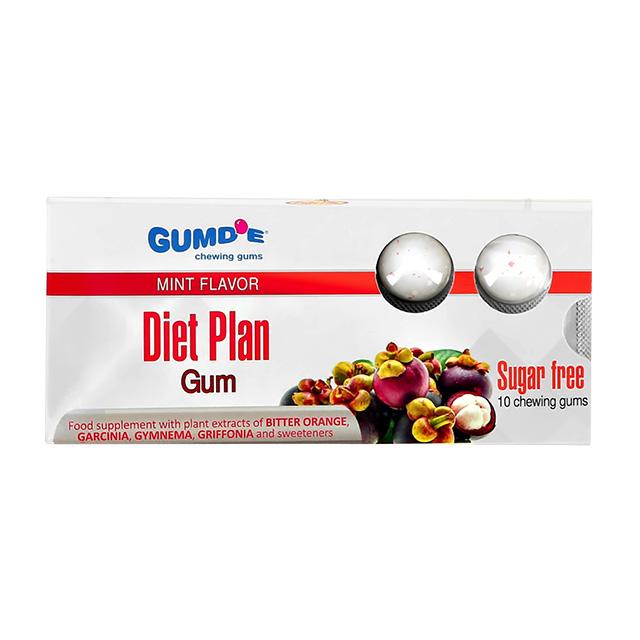 Жевательная резинка со вкусом мяты Chewing Gums Diet Plan Gumd`E (без сахара), 10 шт.