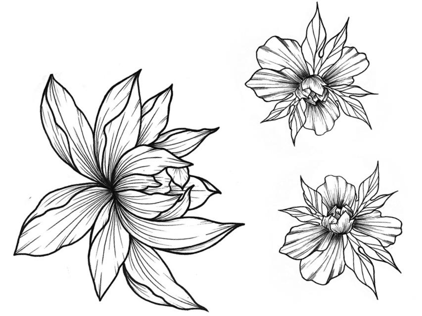 Татуировка для тела DE.CO. Real Tattoo byMiami tattoos переводная (Flower Trio)