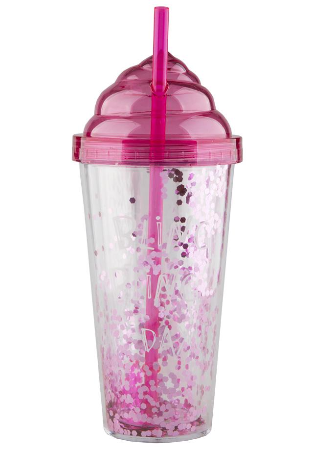 Стакан для воды FUN Ice Cream с трубочкой и блестками Pink