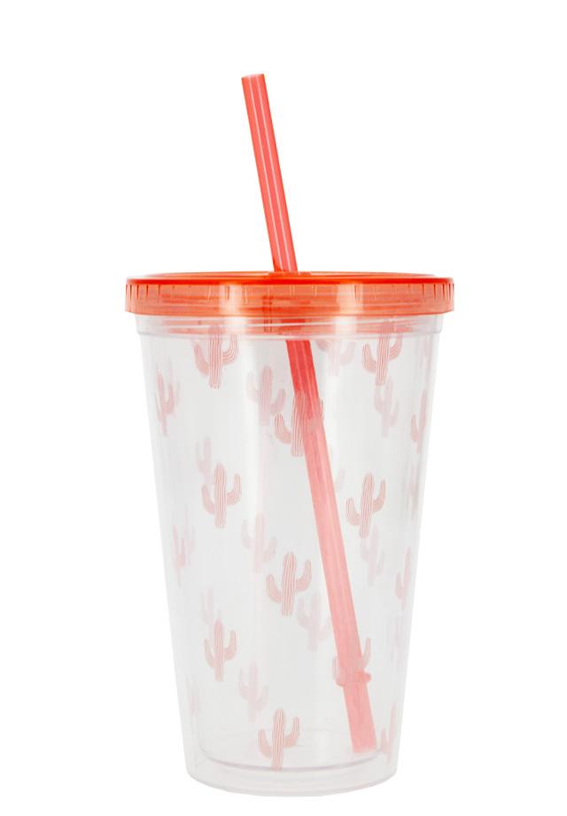 Стакан для воды FUN с трубочкой Pink Cactus