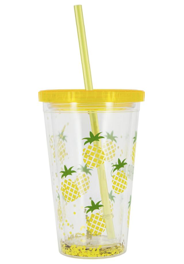 Стакан для воды FUN с трубочкой Pineapple