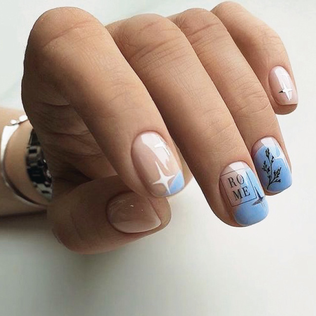 Маникюр на Квадратную закругленную форму ногтей
