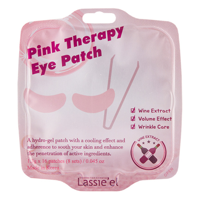 Патчи для глаз гидрогелевые Lassie`El Pink Therapy с экстрактом вина