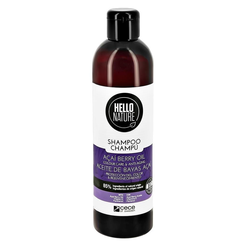 Шампунь для волос HELLO NATURE Acai Berry Oil с маслом ягод асаи