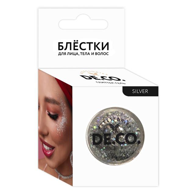 Блестки для лица, тела и волос DE.CO. by Miami tattoos (Silver)