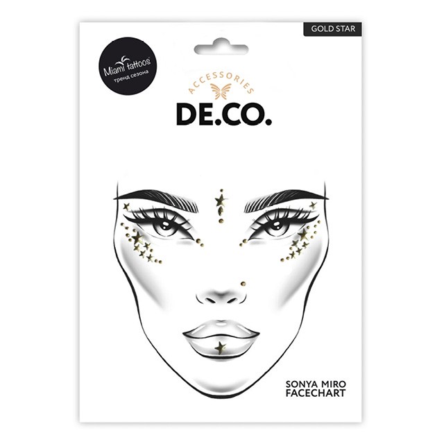 Кристаллы для лица и тела DE.CO. Face Crystals by Miami tattoos (Gold star)