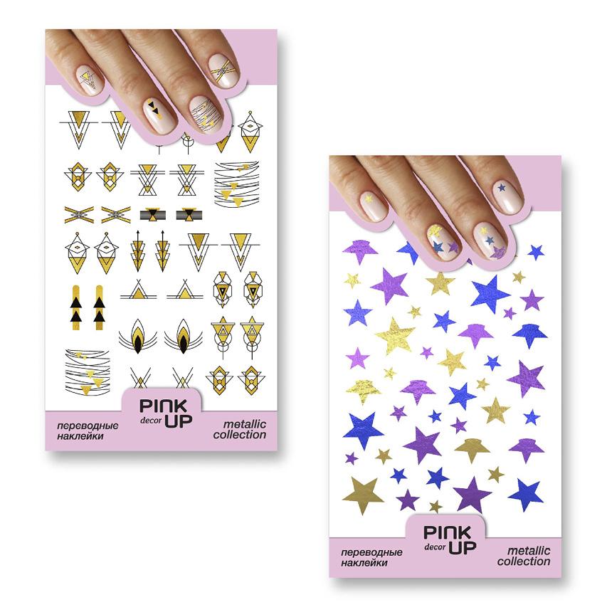 переводные наклейки для ногтей Pink Up Decor Metallic тон 742 и 743