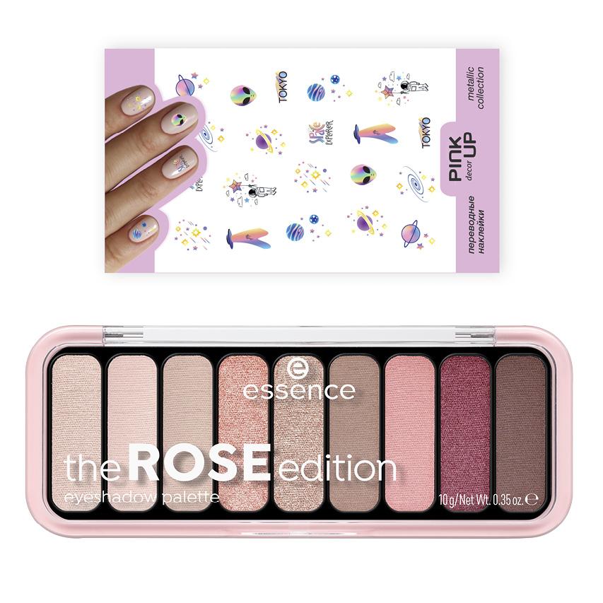 палетке теней для век Essence тон 20 The Rose и переводные наклейки для ногтей Pink Up Decor Metallic тон 790