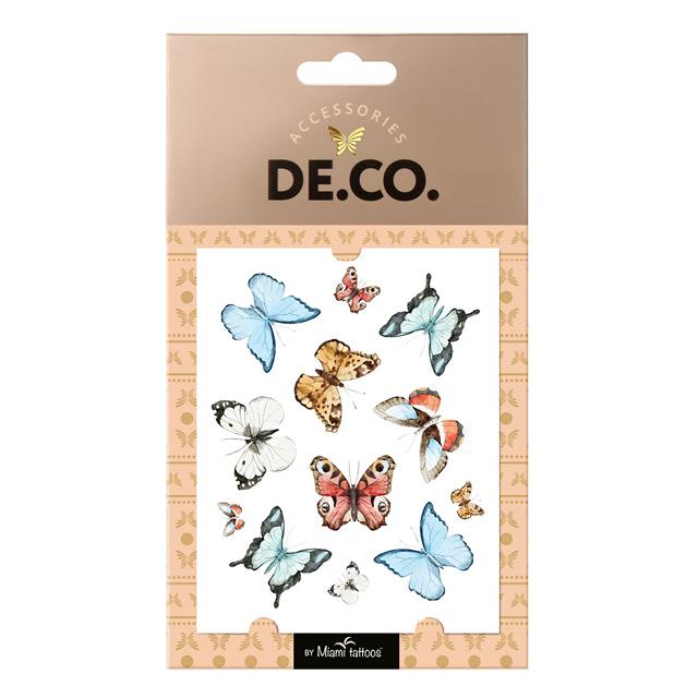 Татуировка для тела DE.CO. Watercolor Story by Miami tattoos переводная (Butterflies)