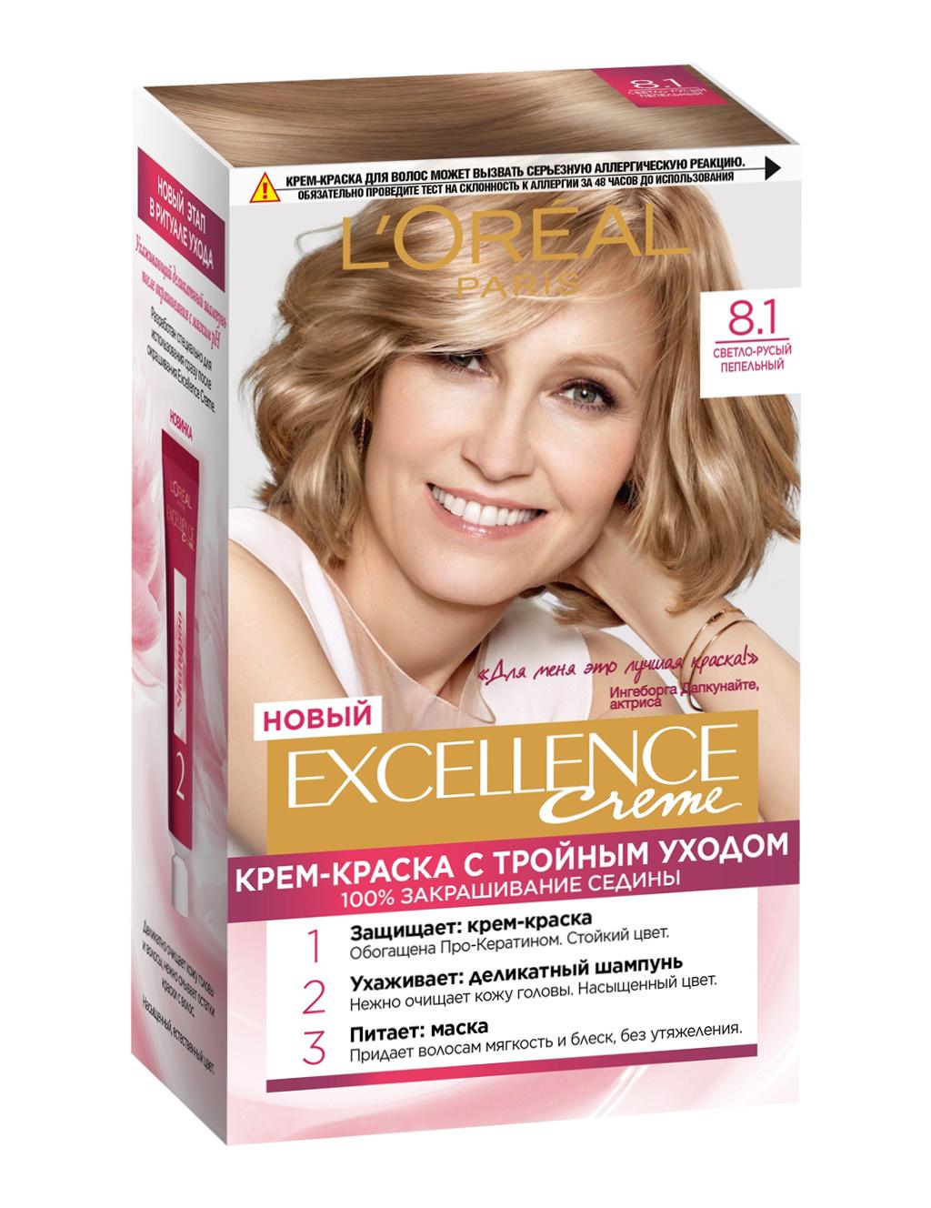 Крем-краска для волос L'Oreal Excellence тон 8.1 (Светло-русый пепельный)