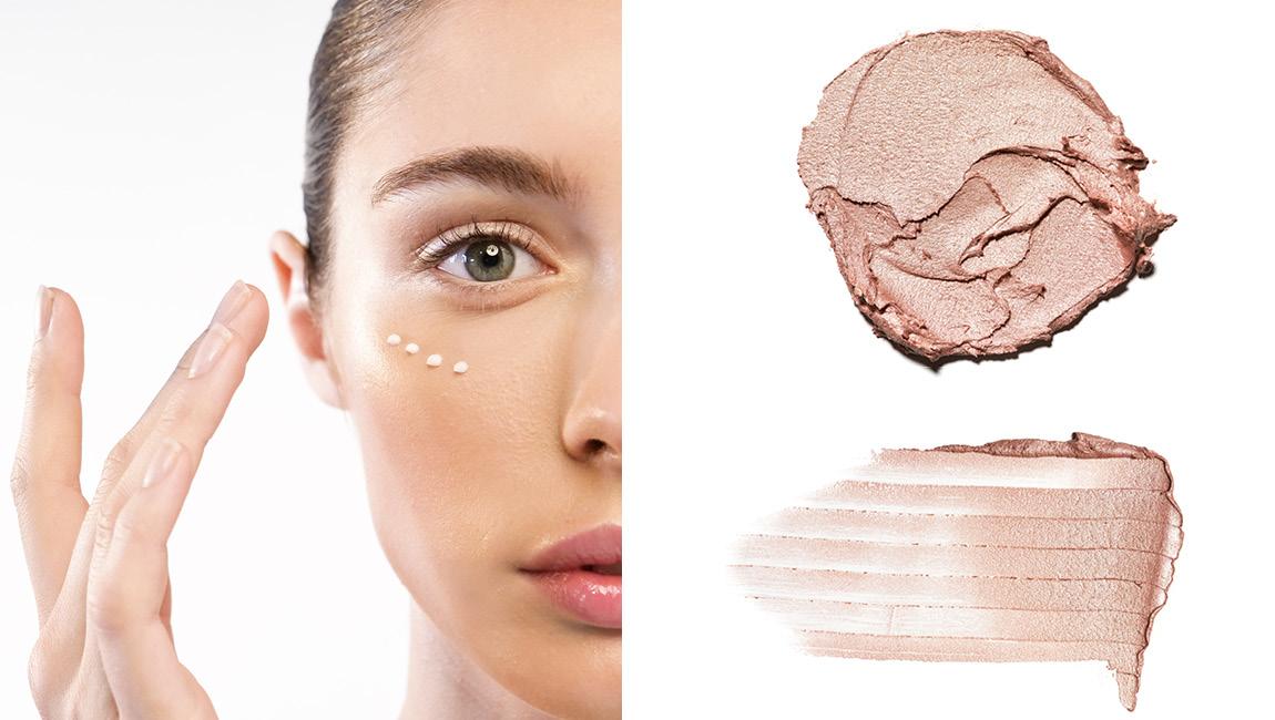 Нанеси хайлайтер на скулы, нос, лоб и к внутренним уголкам глаз