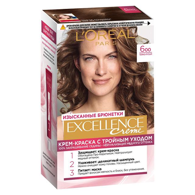 Крем-краска для волос L'Oreal Excellence тон 6.00 (Темно-русый)