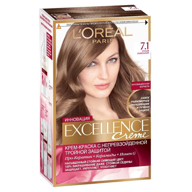 Крем-краска для волос L'Oreal Excellence тон 7.1 (Русый пепельный)