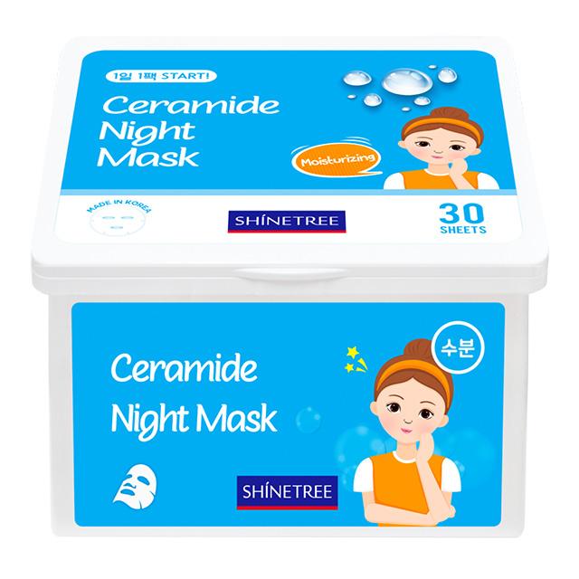 Маска для лица ночная с керамидами увлажняющая Shinetree, 30 шт.