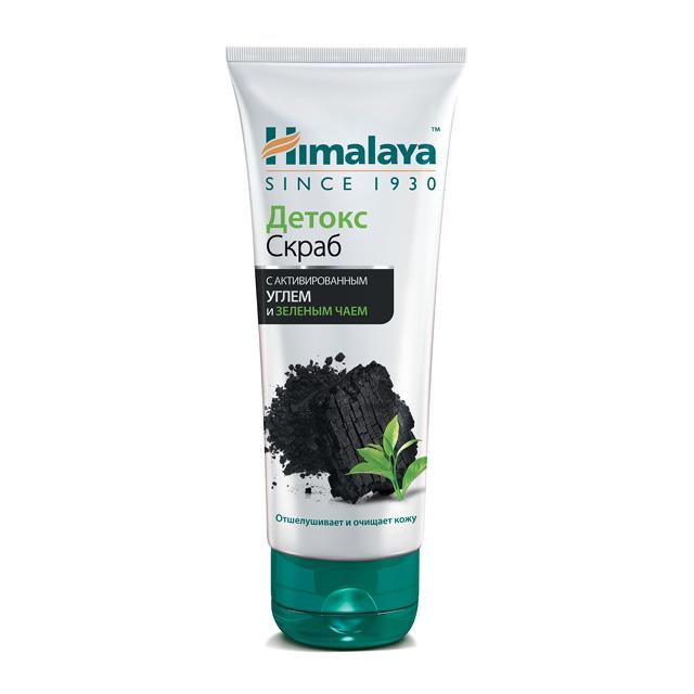 Скраб для лица детокс с активированным углем и зеленым чаем Himalaya Herbals, 75 мл
