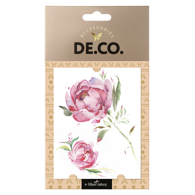 Татуировка для тела DECO. Watercolor Story By Miami Tattoos переводная (Pink Rose Brunch)