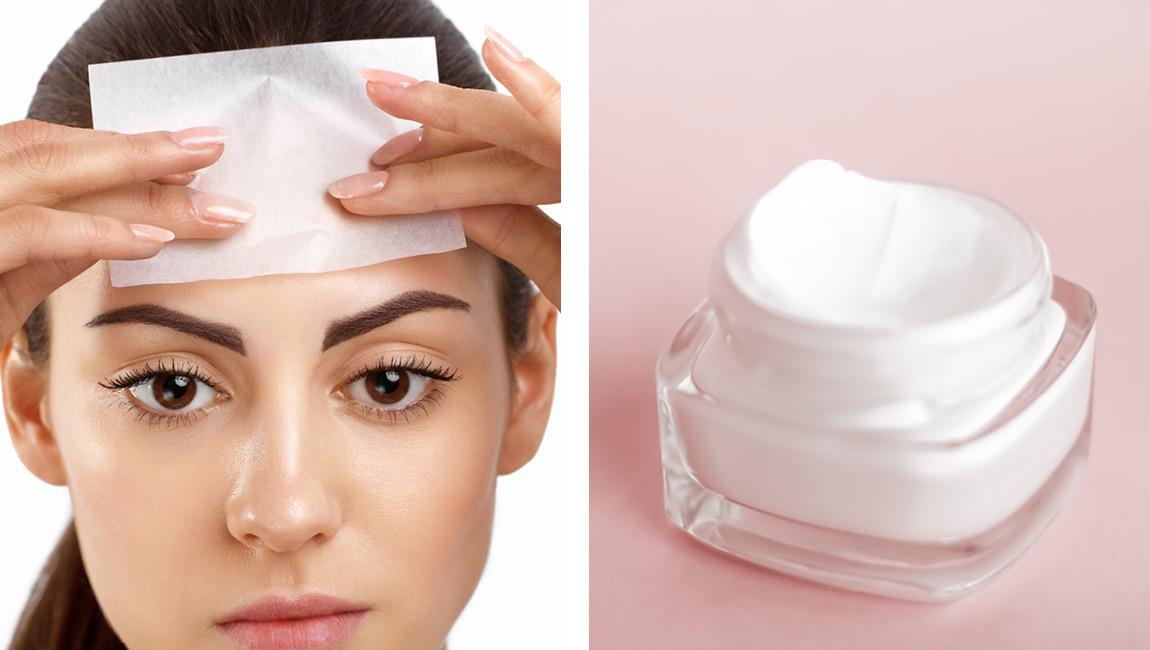 Удаление излишков крема для лица