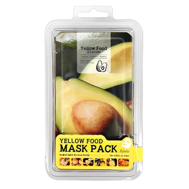 Набор масок для лица Esfolio Yellow Food (с экстрактами авокадо, груши, лимона, тыквы, ананаса, оливы)