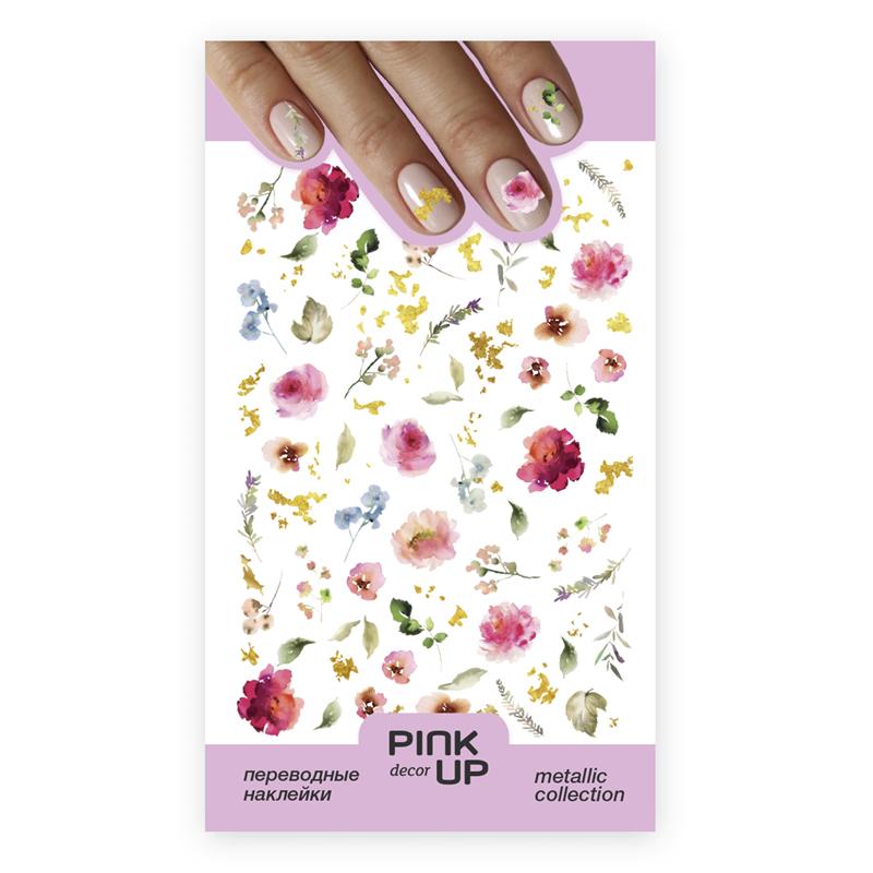 Наклейки для ногтей Pink Up Decor Metalliс переводные тон 800