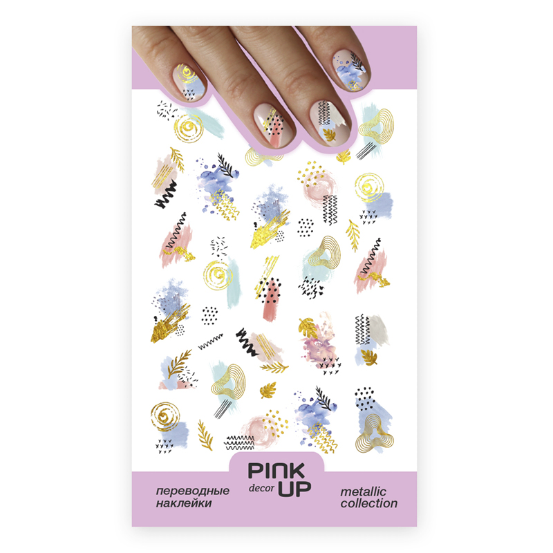 Наклейки для ногтей Pink Up Decor Metalliс переводные тон 801