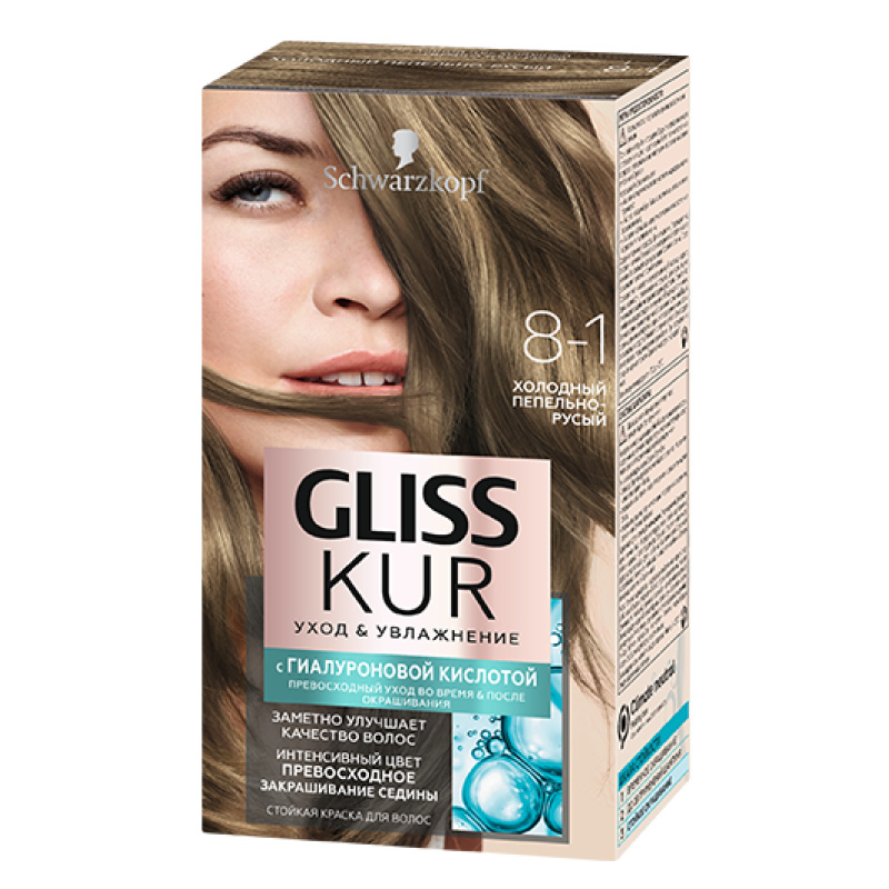 Краска для волос Gliss Kur с гиалуроновой кислотой тон 8-1 (Холодный пепельно-русый)