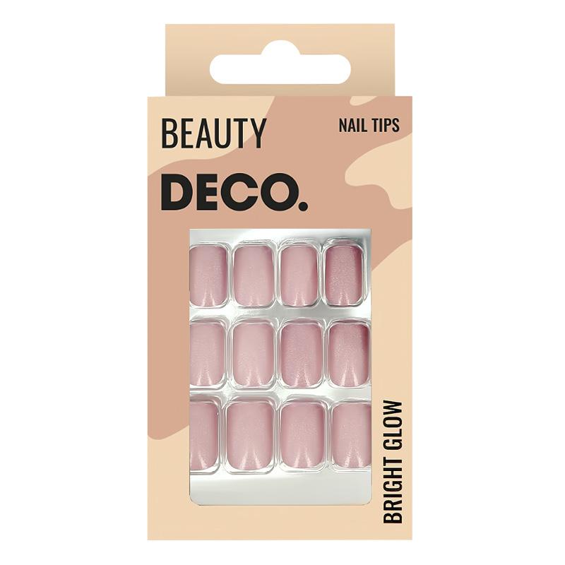 Набор накладных ногтей DECO. Bright Glow Pinky (24 шт + клеевые стикеры 24 шт)