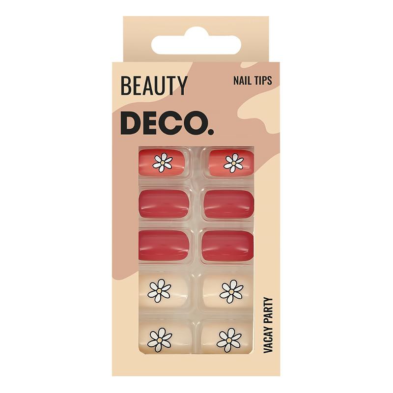 Набор накладных ногтей DECO. Vacay Party Floral Story (24 шт + клеевые стикеры 24 шт)