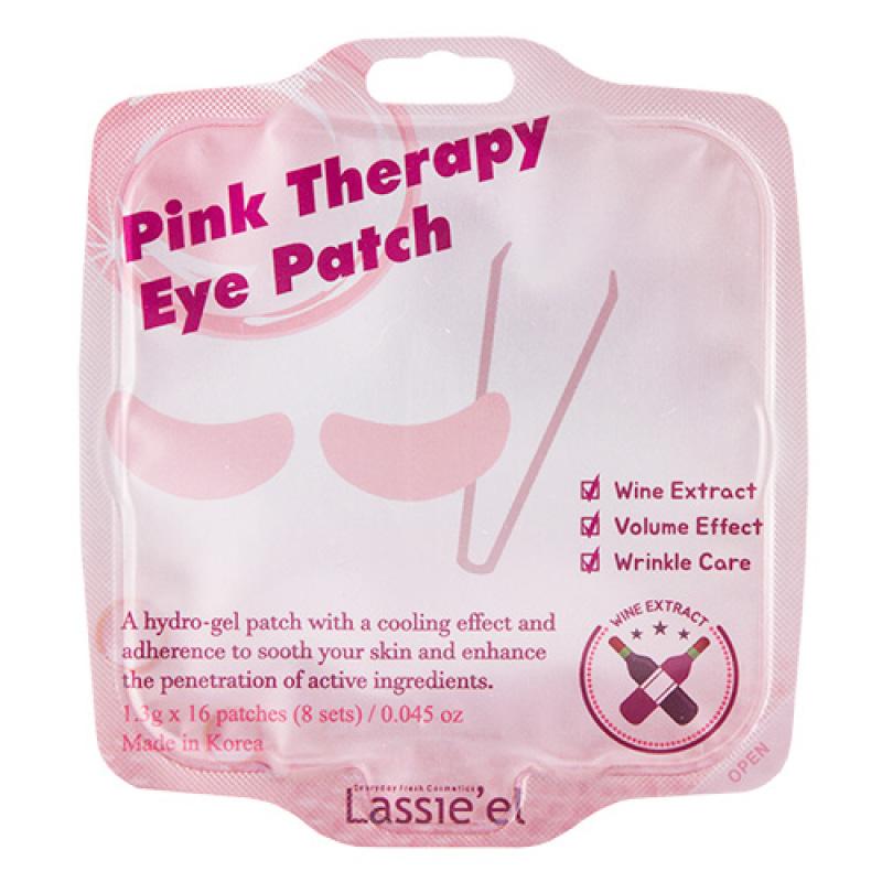 Патчи для глаз гидрогелевые Lassie`El Pink Therapy с экстрактом вина (против морщин)