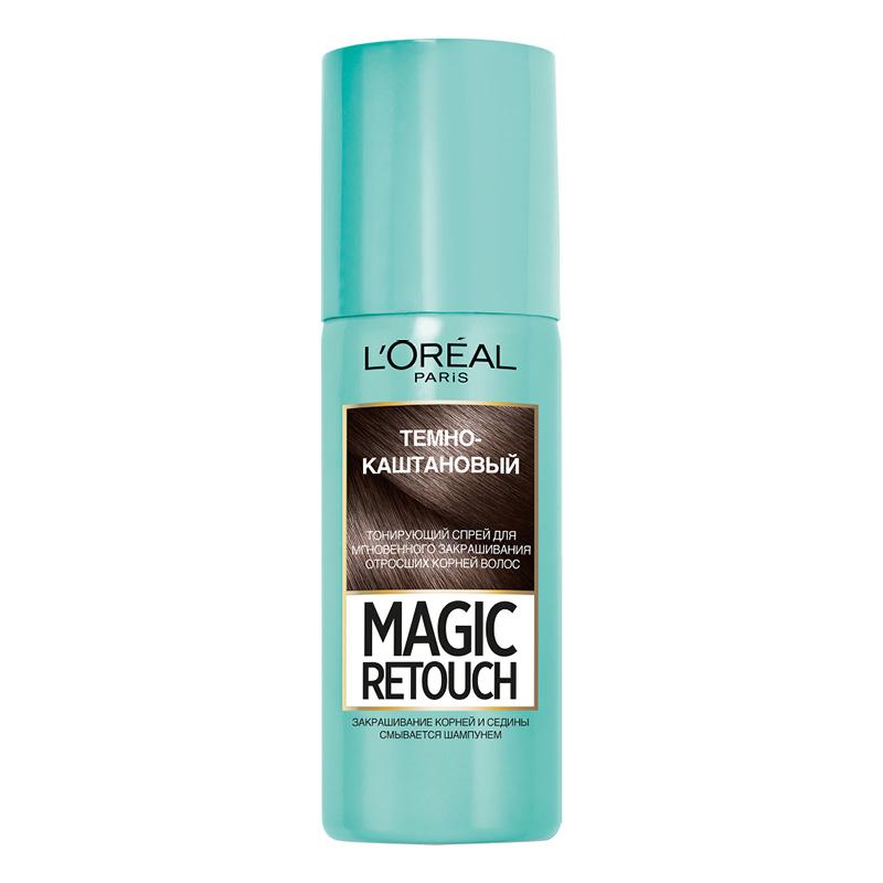Спрей для волос тонирующий L'Oreal Magic Retouch тон 2 (темно-каштановый)