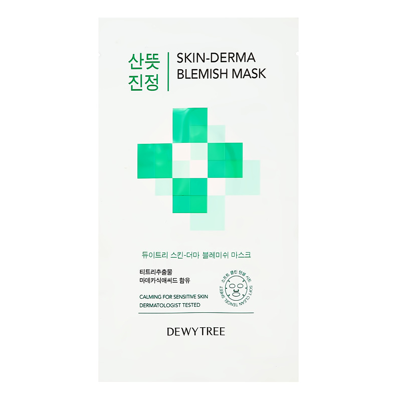 Маска для лица Dewytree Skin-Derma c экстрактом листьев чайного дерева (выравнивающая тон кожи)