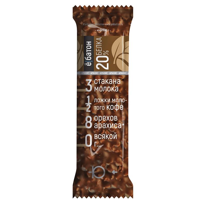 Батончик глазированный со вкусом кофе, с арахисом в шоколаде, «Ё-батон», 40 г