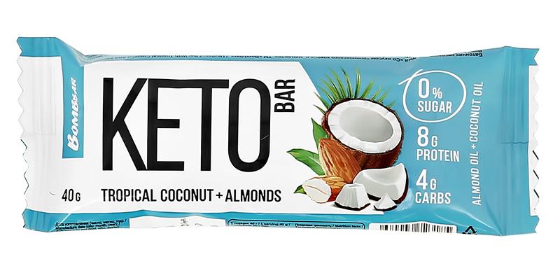 Батончик неглазированный со вкусом тропического кокоса и миндаля «Kето», Bombbar, 40 г