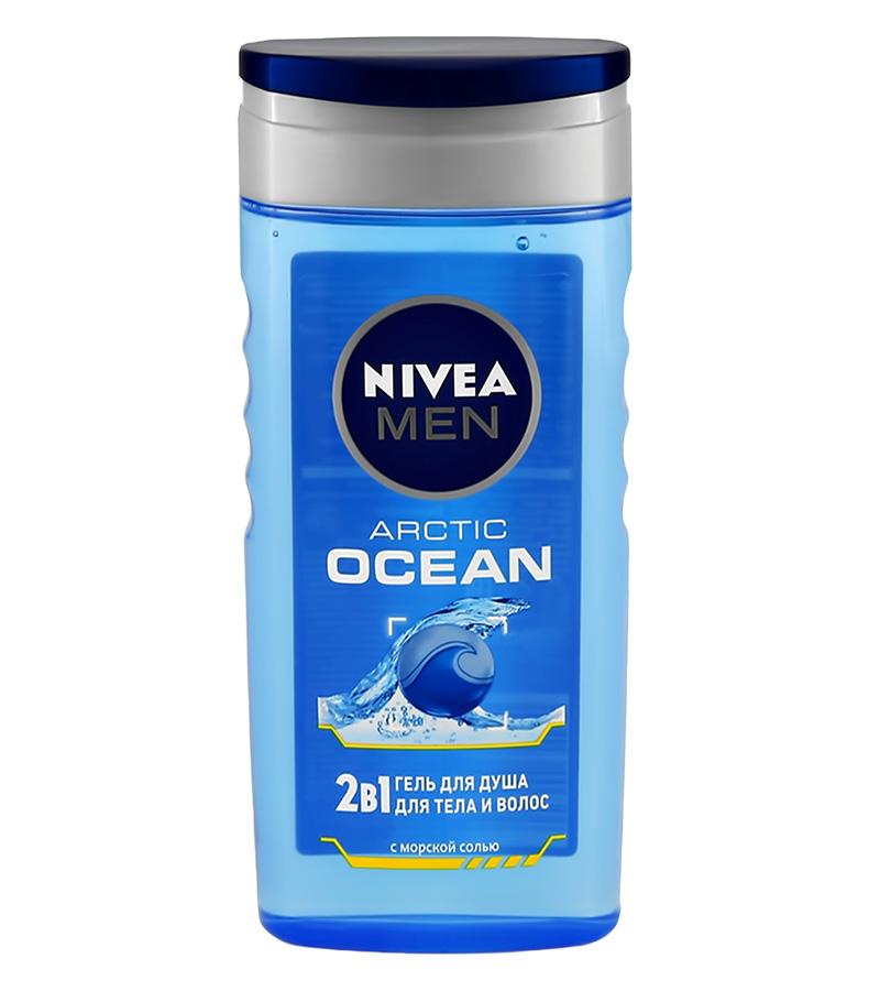 Гель-уход для душа Nivea Men Arctic Ocean 2 в 1 для тела и волос (с морской солью)