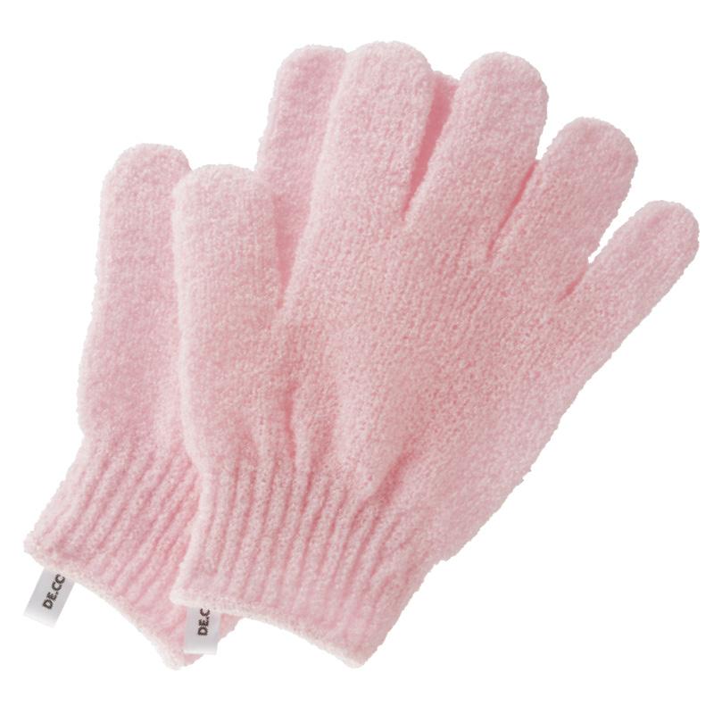 Перчатки для душа DECO. отшелушивающие (розовые) 2 шт