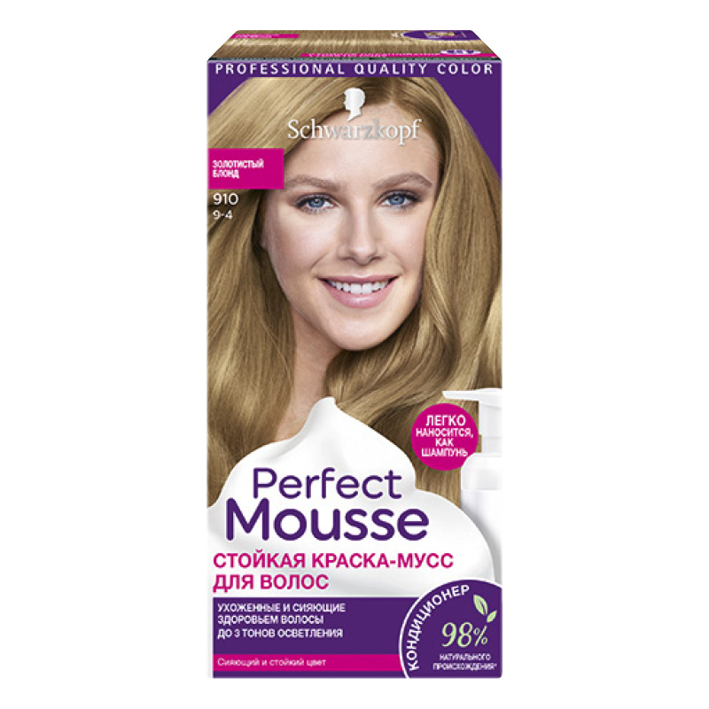Краска-мусс для волос Perfect Mousse, тон 910, Schwarzkopf