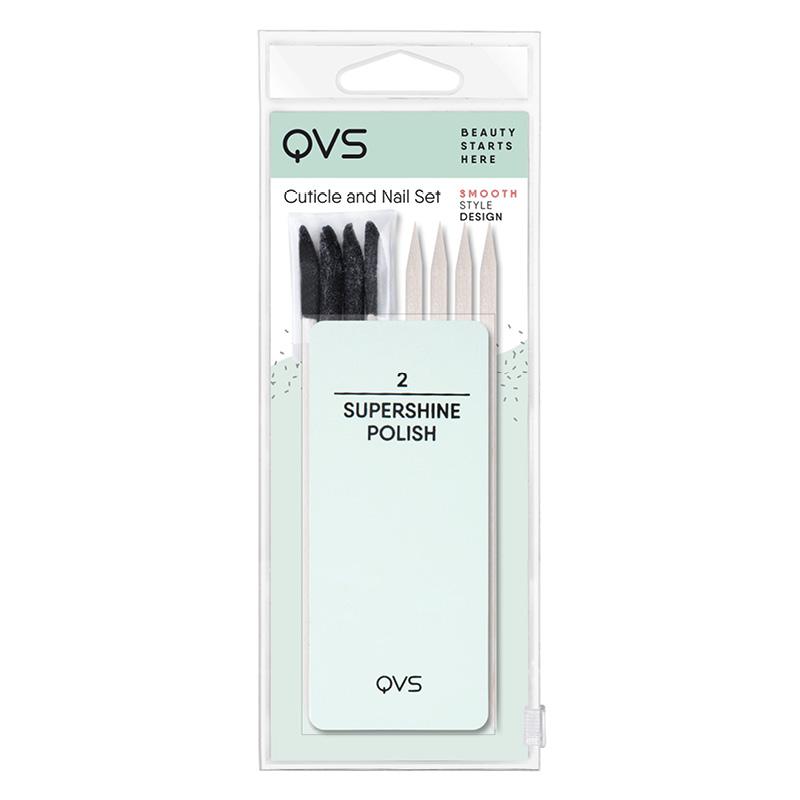 Набор для ухода за ногтями и кутикулой QVS (мини-баф/полировка, палочки для кутикулы)