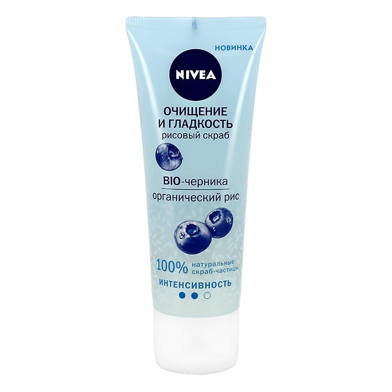 Скраб для лица Nivea Bio-Черника Очищение и гладкость (рисовый)