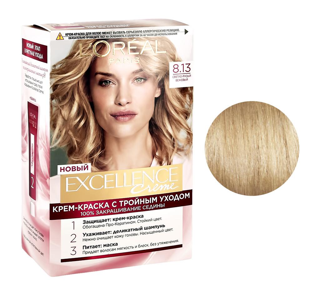 Стойкая крем-краска для волос Excellence, оттенок 8.13 «Светло-русый бежевый», L`Oréal Paris