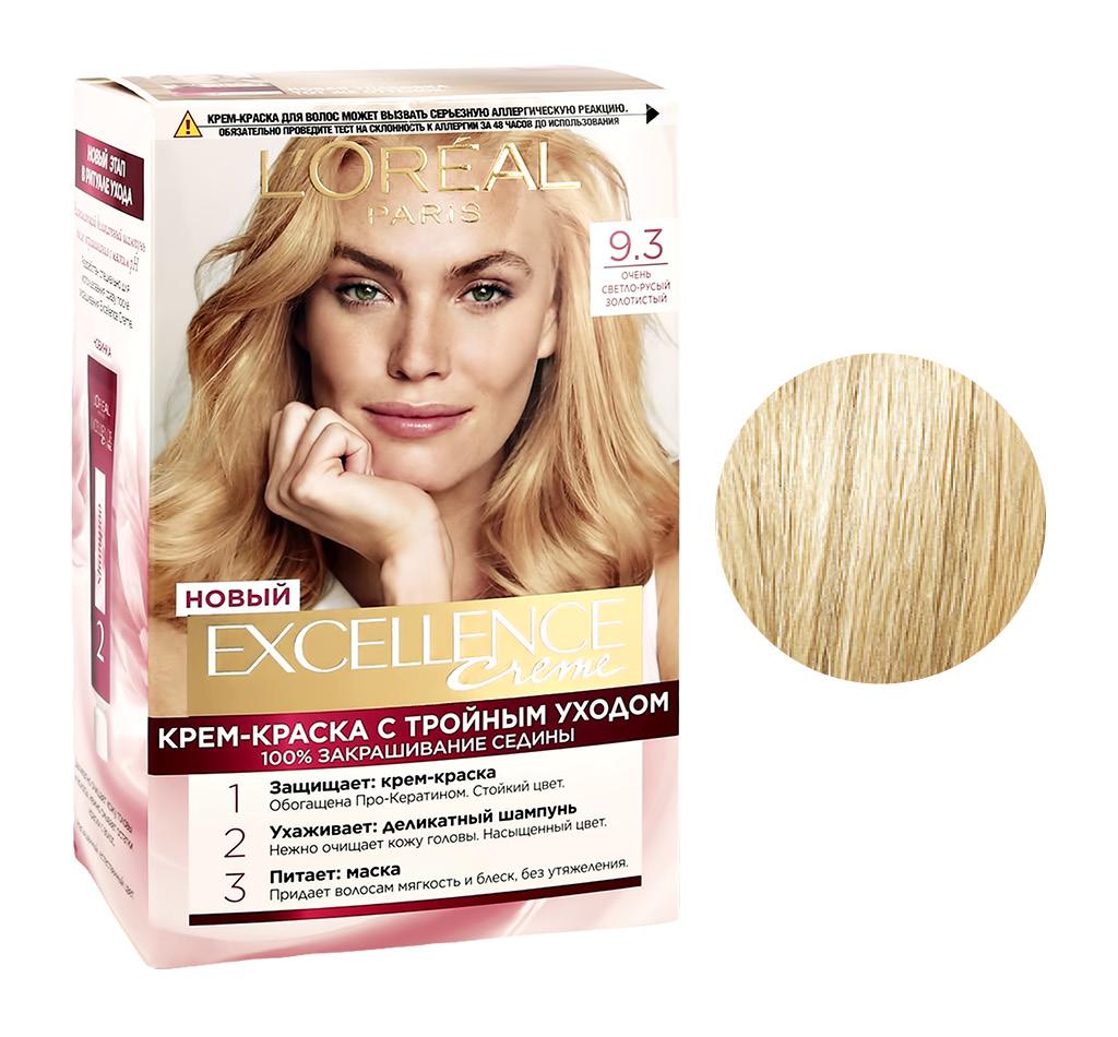 Стойкая крем-краска для волос Excellence, оттенок 9.3 «Очень светло-русый золотистый», L`Oréal Paris