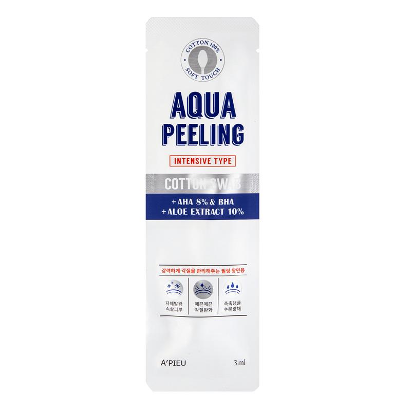 Ватная палочка для пилинга A`Pieu Aqua Peeling c AHA и BHA-кислотами и экстрактом алоэ (интенсивного действия)