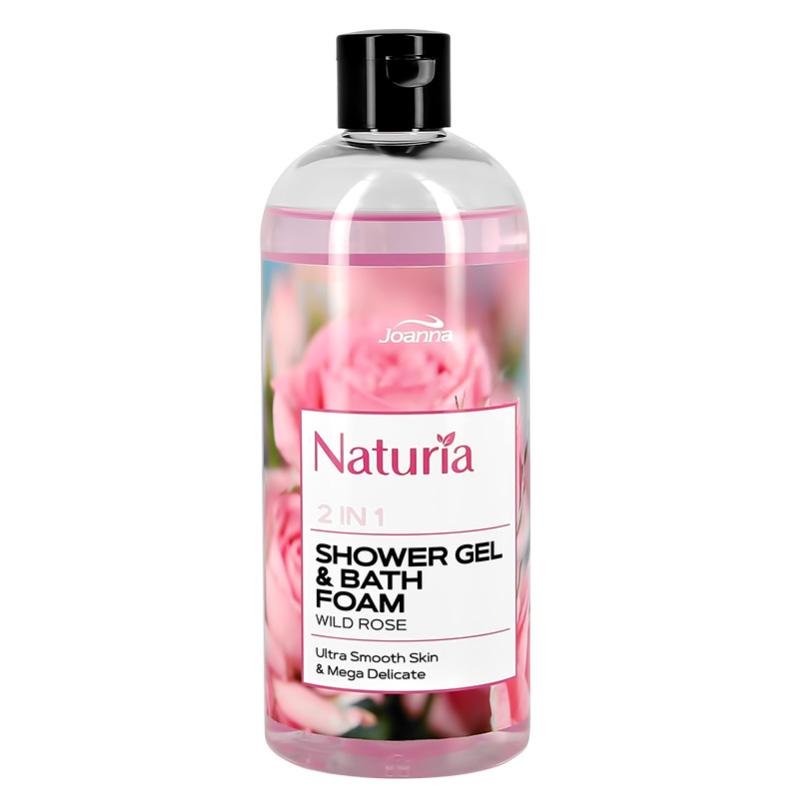 Гель для душа и пена для ванны Joanna Naturia 2 в 1 Роза