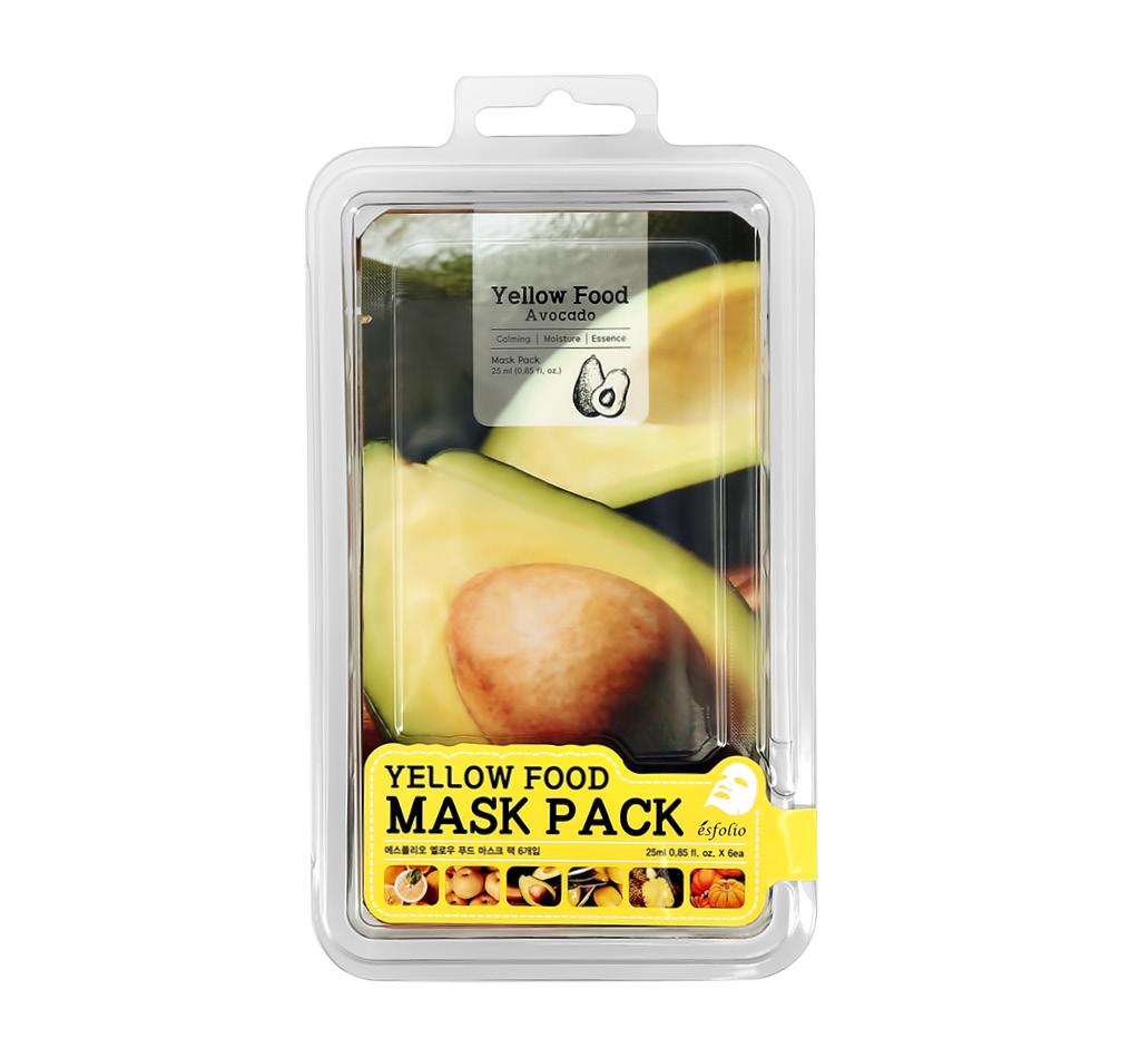 Набор масок для лица с экстрактами авокадо, груши, лимона, тыквы, ананаса, оливы Yellow Food, Esfolio