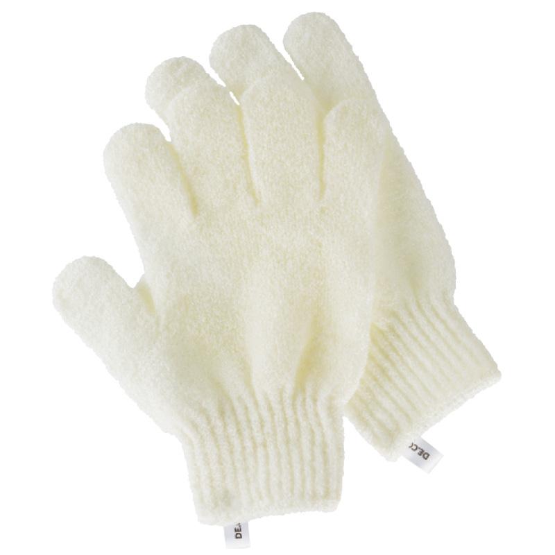 Перчатки для душа DECO. отшелушивающие (белые)