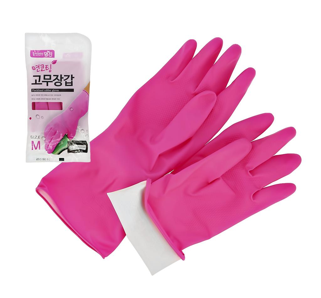 Перчатки хозяйственные Myungjin с хлопковым напылением розовые (р-р М)