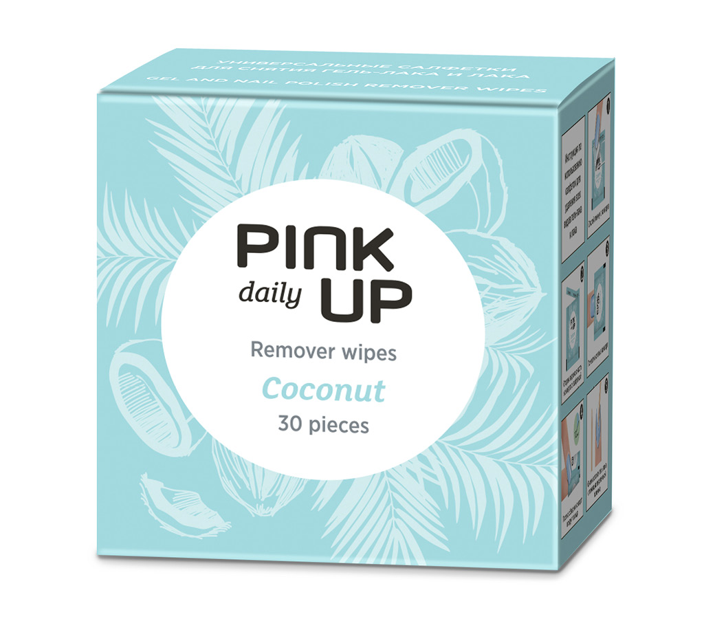 Салфетки для снятия лака и гель-лака Pink Up Daily Кокос