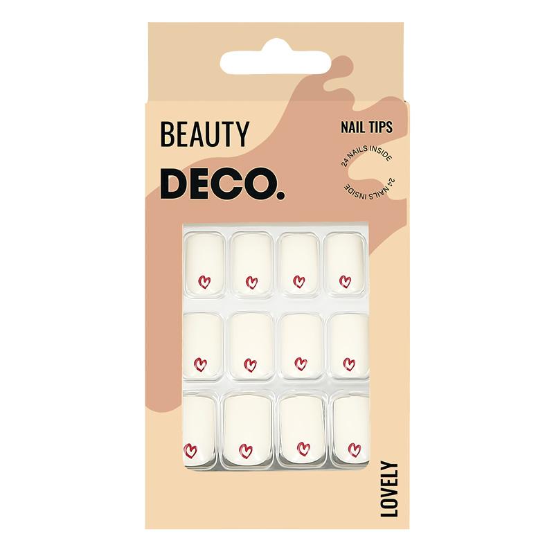 Набор накладных ногтей DECO. Lovely Hearts (24 шт + клеевые стикеры 24 шт)