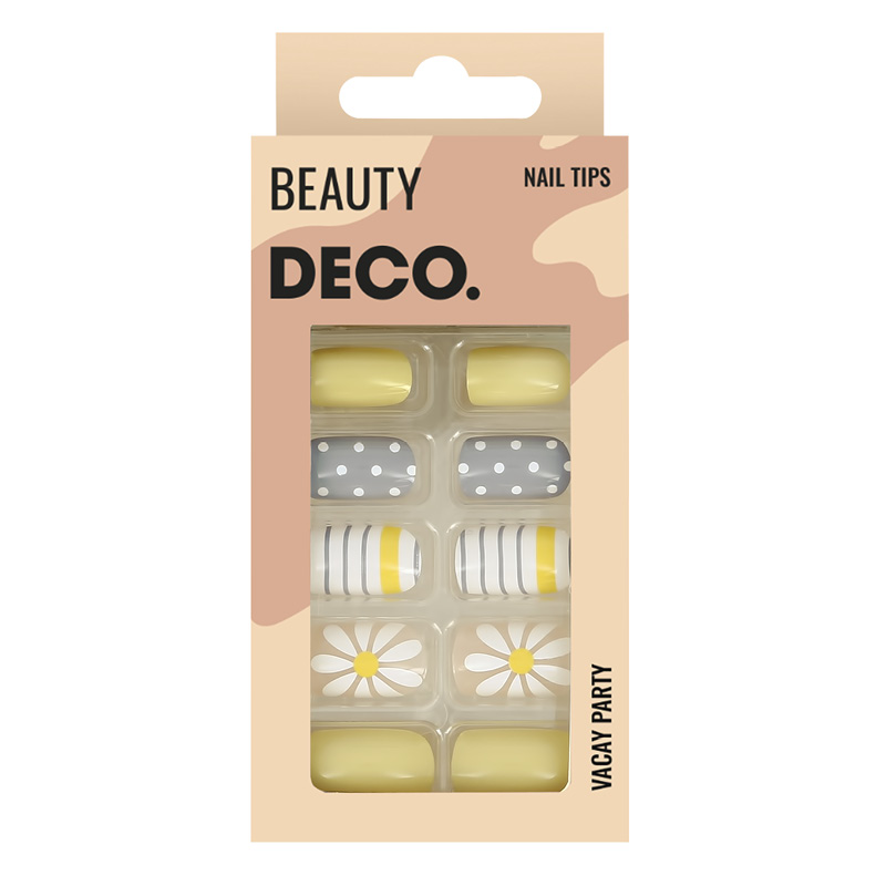 Набор накладных ногтей DECO. Vacay Party Daisy Story (24 шт + клеевые стикеры 24 шт)