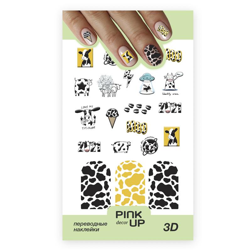 Наклейки для ногтей Pink Up Decor 3D переводные тон 820