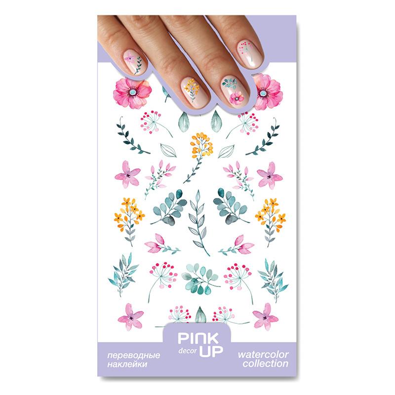 Наклейки для ногтей Pink Up Decor Watercolor переводные тон 845
